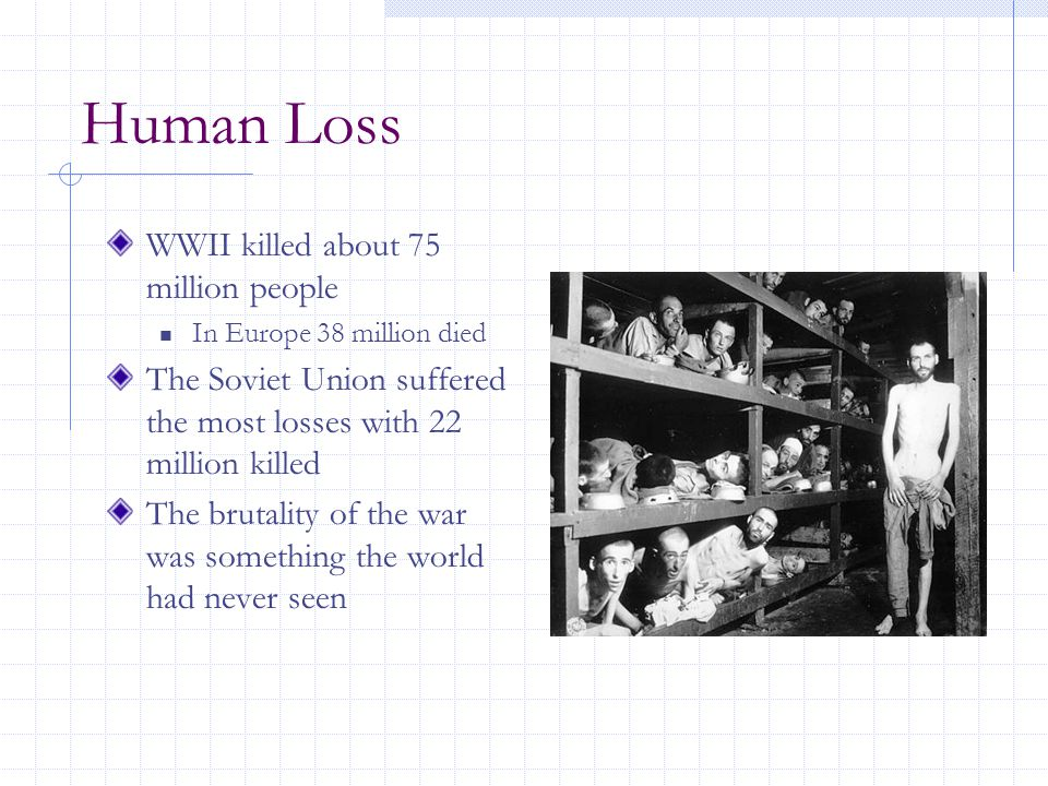Human Loss WWII killed about 75 million people In Europe 38 million died The Soviet Union suffered the most losses with 22 million killed The brutality of the war was something the world had never seen
