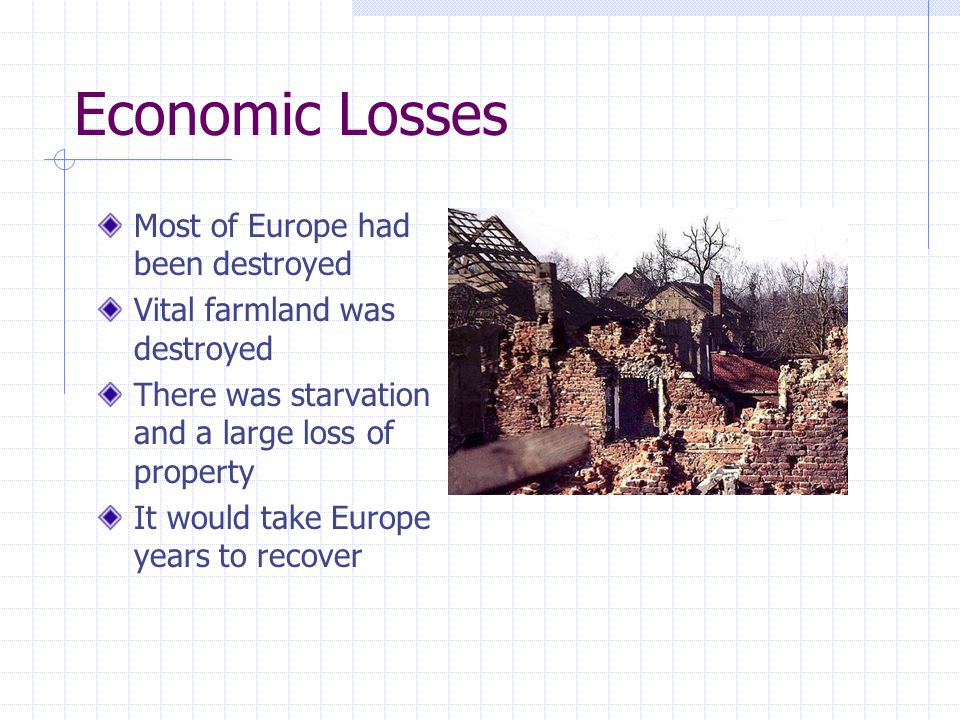 Economic Losses Most of Europe had been destroyed Vital farmland was destroyed There was starvation and a large loss of property It would take Europe years to recover