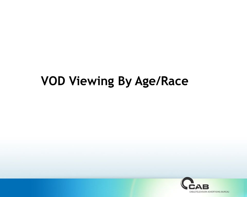 VOD Viewing By Age/Race