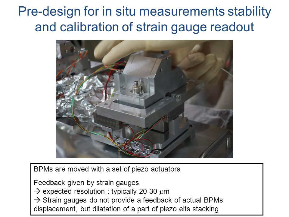 BPMs are moved with a set of piezo actuators Feedback given by strain gauges  expected resolution : typically  m  Strain gauges do not provide a feedback of actual BPMs displacement, but dilatation of a part of piezo elts stacking Pre-design for in situ measurements stability and calibration of strain gauge readout