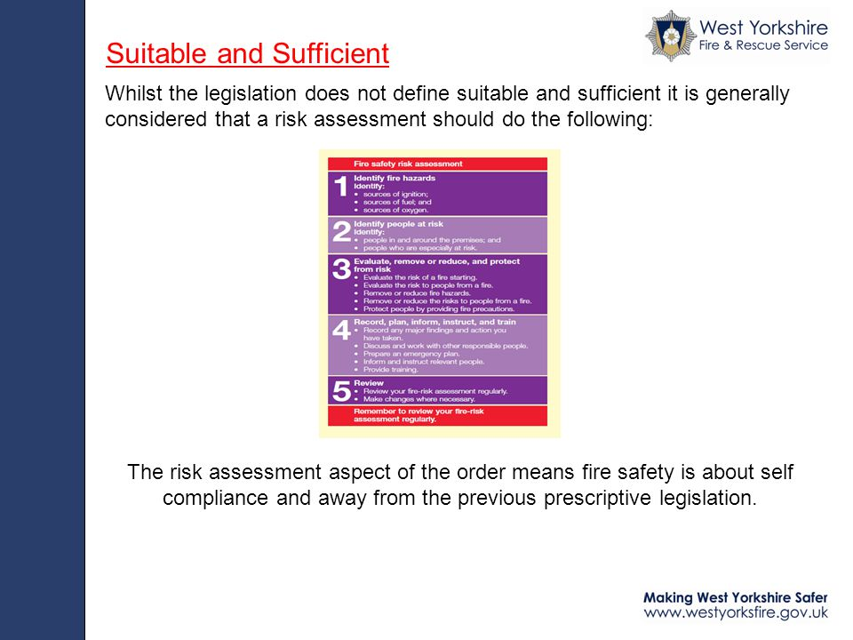 Whilst the legislation does not define suitable and sufficient it is generally considered that a risk assessment should do the following: Suitable and Sufficient The risk assessment aspect of the order means fire safety is about self compliance and away from the previous prescriptive legislation.
