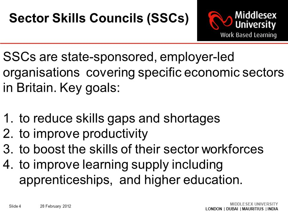 MIDDLESEX UNIVERSITY LONDON | DUBAI | MAURITIUS | INDIA Sector Skills Councils (SSCs) 28 February 2012Slide 4 SSCs are state-sponsored, employer-led organisations covering specific economic sectors in Britain.