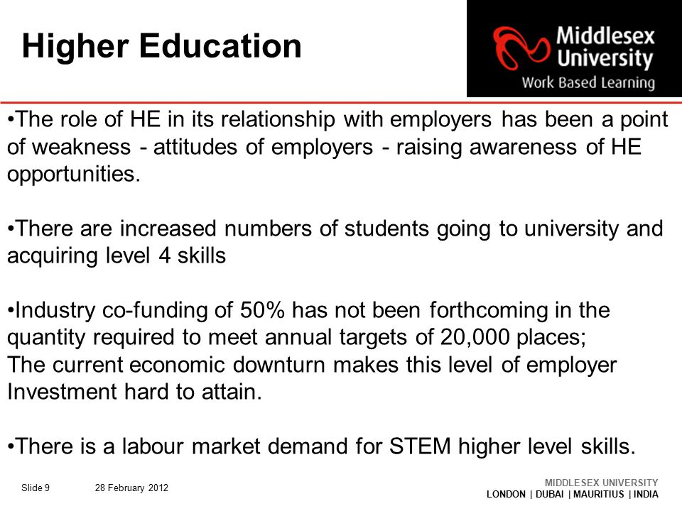 MIDDLESEX UNIVERSITY LONDON | DUBAI | MAURITIUS | INDIA Higher Education 28 February 2012Slide 9 The role of HE in its relationship with employers has been a point of weakness - attitudes of employers - raising awareness of HE opportunities.
