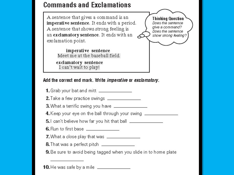 difference between imperative and exclamatory sentences