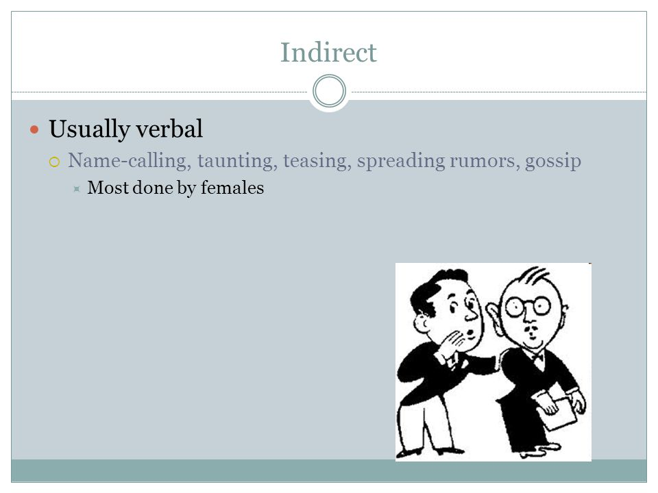 Indirect Usually verbal  Name-calling, taunting, teasing, spreading rumors, gossip  Most done by females