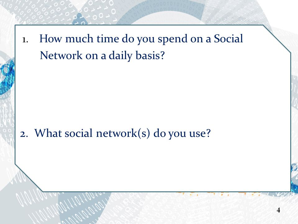 1. How much time do you spend on a Social Network on a daily basis.