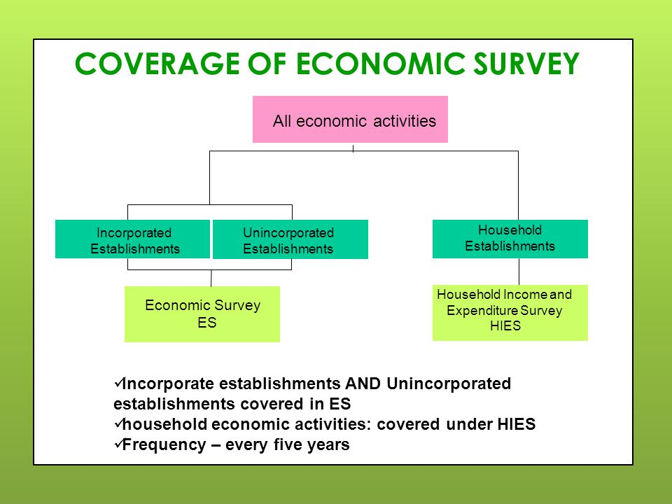 COVERAGE OF ECONOMIC SURVEY Incorporate establishments AND Unincorporated establishments covered in ES household economic activities: covered under HIES Frequency – every five years Incorporated Establishments Economic Survey ES Unincorporated Establishments All economic activities Household Income and Expenditure Survey HIES Household Establishments