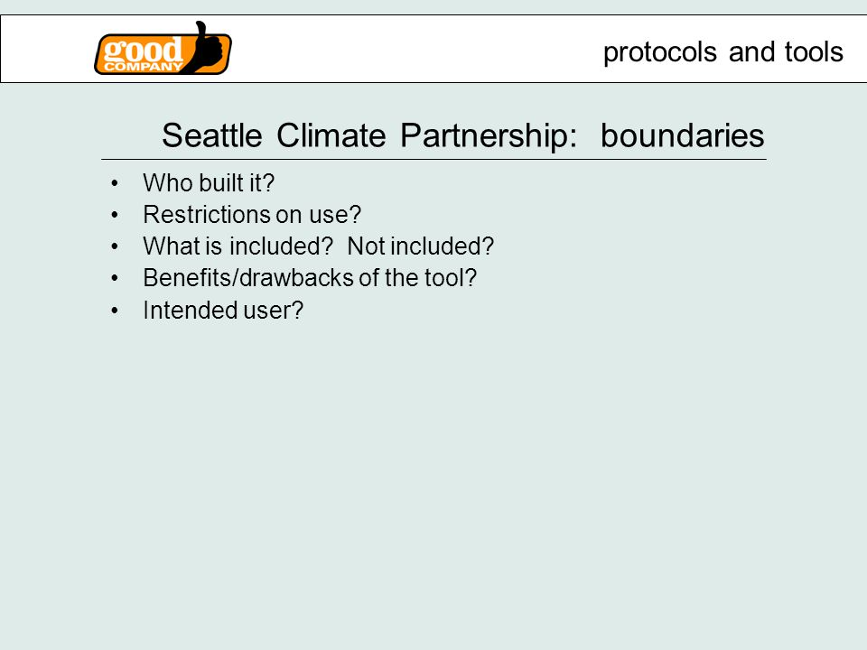 Seattle Climate Partnership: boundaries Who built it.