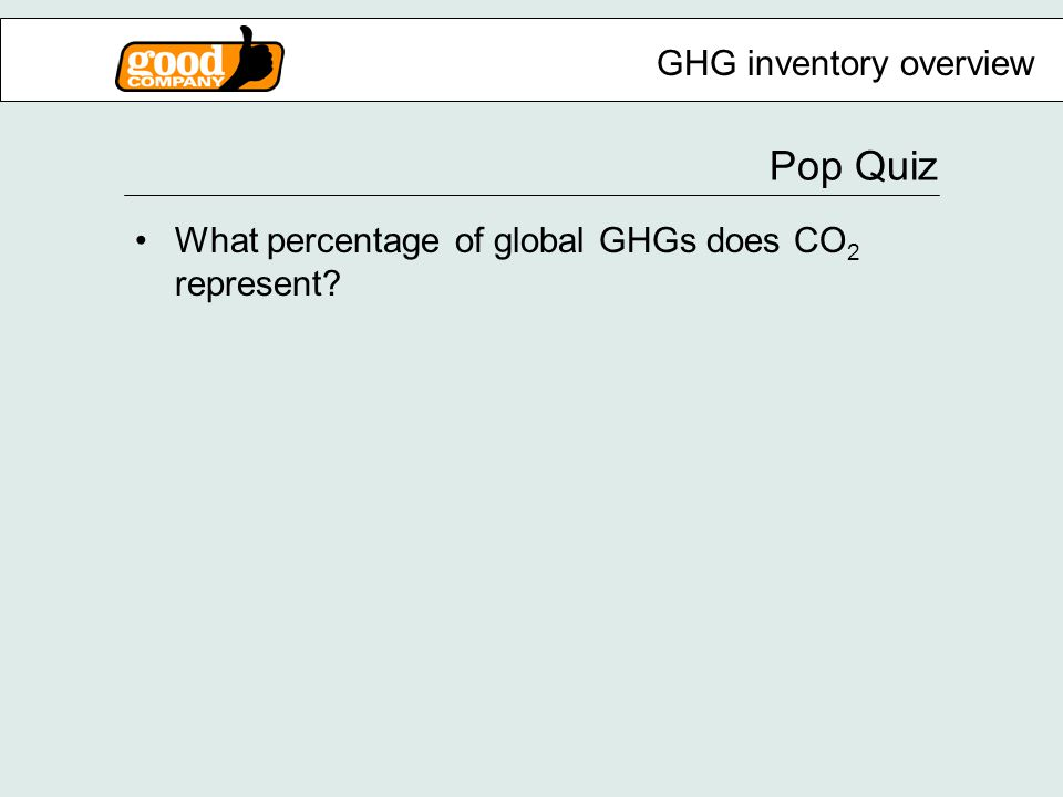 Pop Quiz GHG inventory overview What percentage of global GHGs does CO 2 represent