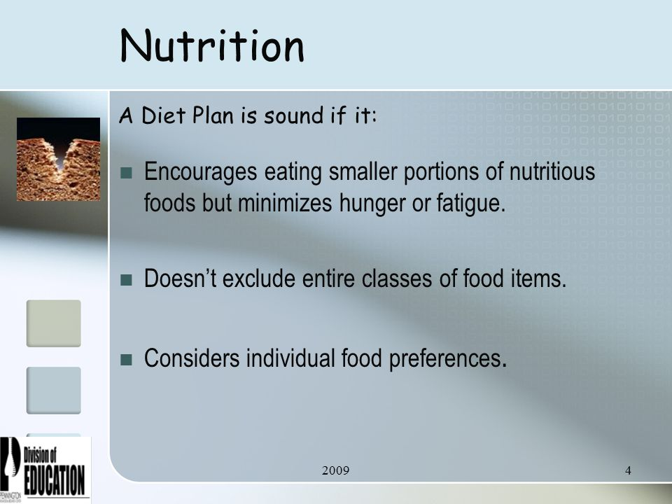 20094 Nutrition Encourages eating smaller portions of nutritious foods but minimizes hunger or fatigue.