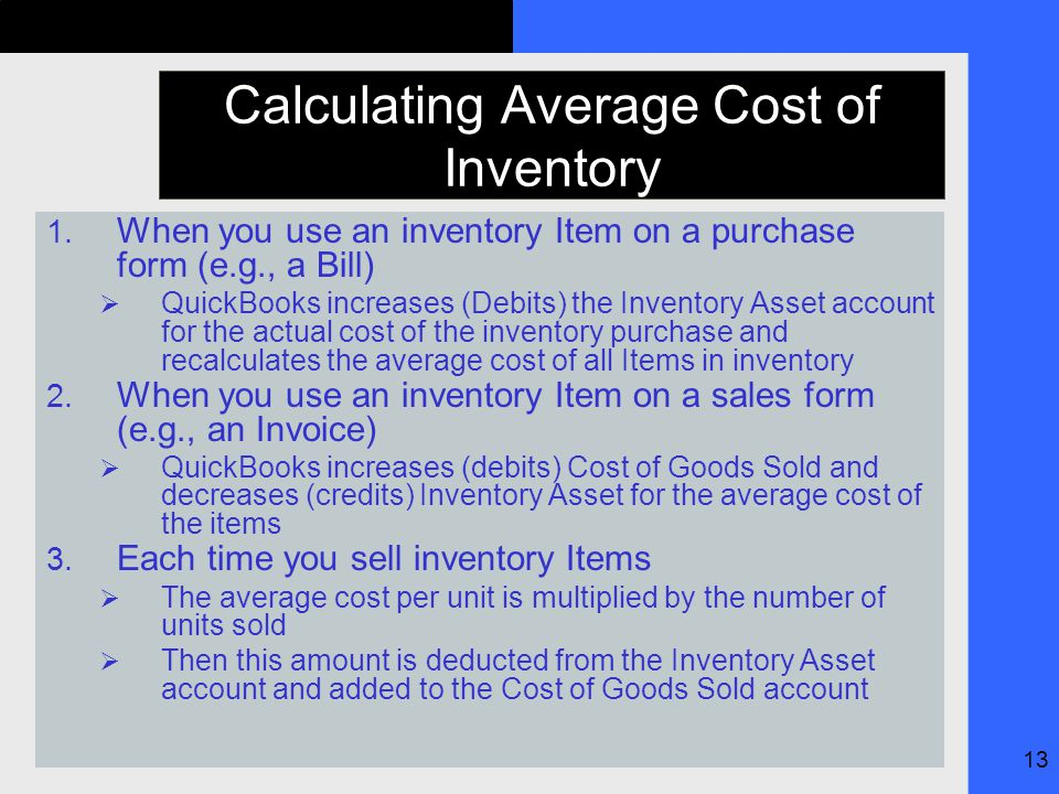 13 Calculating Average Cost of Inventory 1.