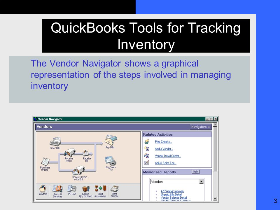 3 QuickBooks Tools for Tracking Inventory The Vendor Navigator shows a graphical representation of the steps involved in managing inventory