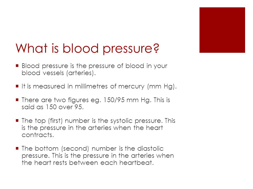 What is blood pressure.  Blood pressure is the pressure of blood in your blood vessels (arteries).