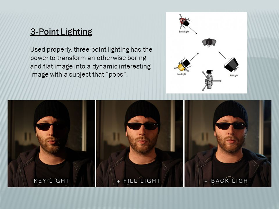 3-Point Lighting Used properly, three-point lighting has the power to transform an otherwise boring and flat image into a dynamic interesting image with a subject that pops .