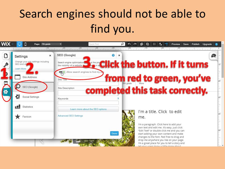 Search engines should not be able to find you.