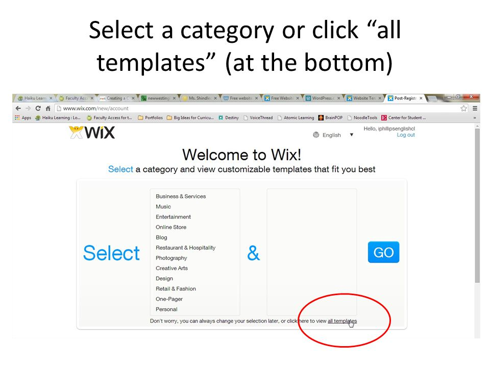 Select a category or click all templates (at the bottom)
