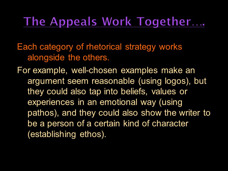 Each category of rhetorical strategy works alongside the others.