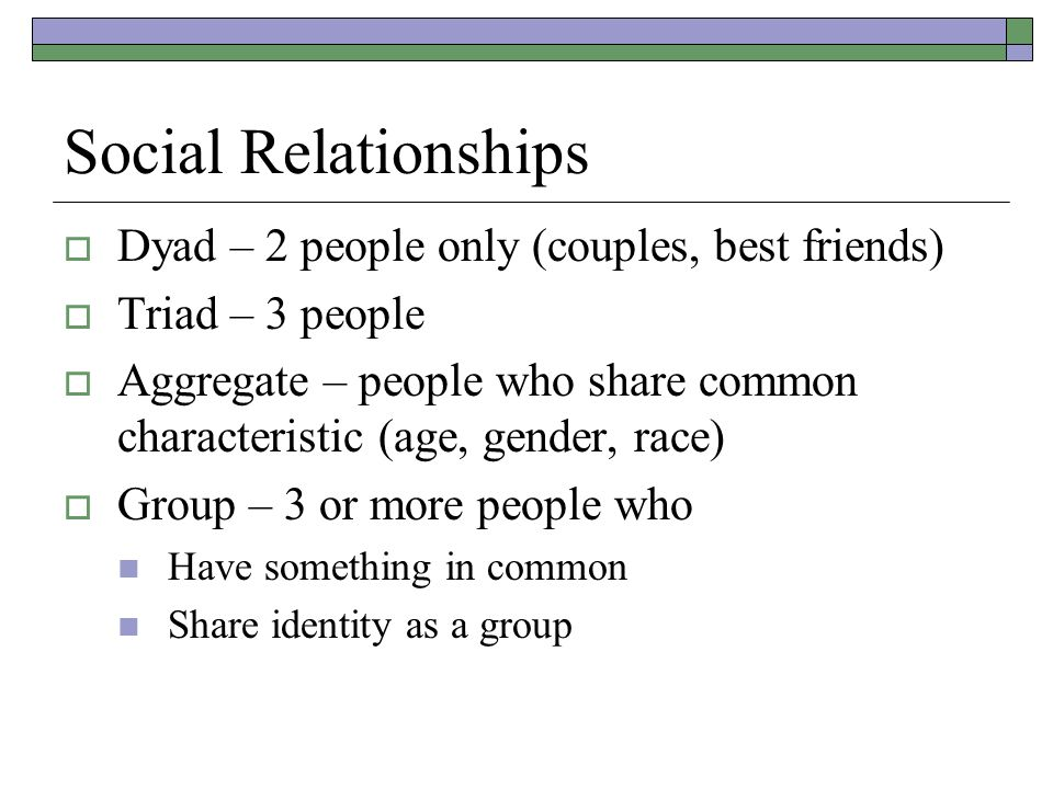 Social Relationships  Dyad – 2 people only (couples, best friends)  Triad – 3 people  Aggregate – people who share common characteristic (age, gender, race)  Group – 3 or more people who Have something in common Share identity as a group