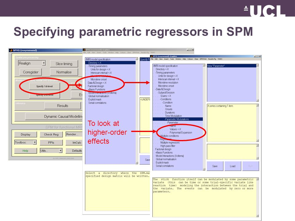 Specifying parametric regressors in SPM To look at higher-order effects