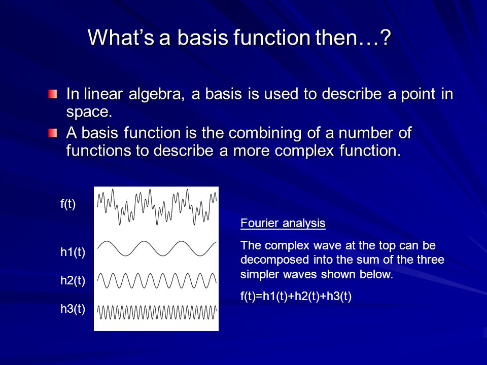 In linear algebra, a basis is used to describe a point in space.