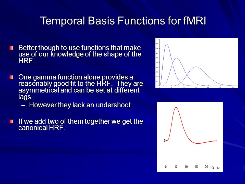 Temporal Basis Functions for fMRI Better though to use functions that make use of our knowledge of the shape of the HRF.