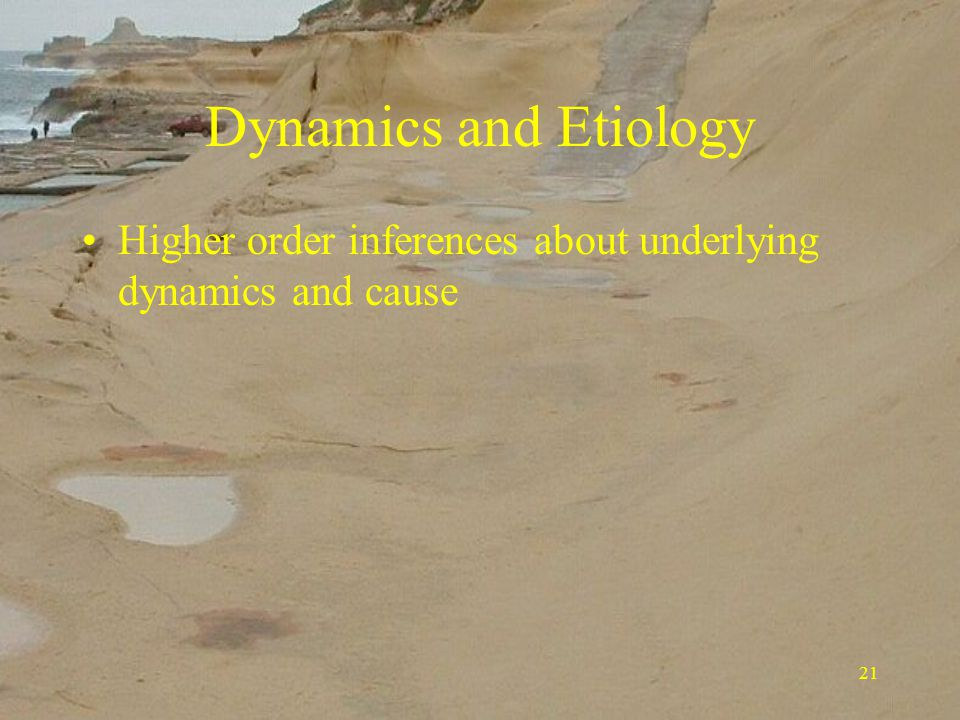 21 Dynamics and Etiology Higher order inferences about underlying dynamics and cause