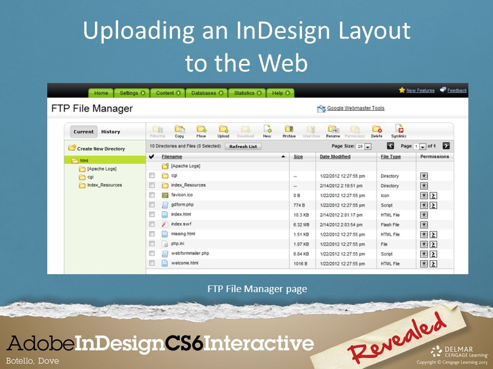 FTP File Manager page Uploading an InDesign Layout to the Web