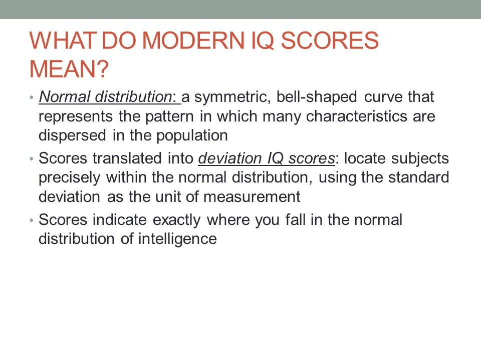 WHAT DO MODERN IQ SCORES MEAN.