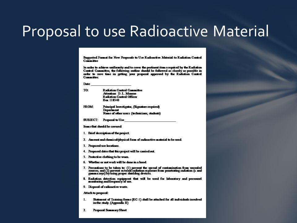 Proposal to use Radioactive Material