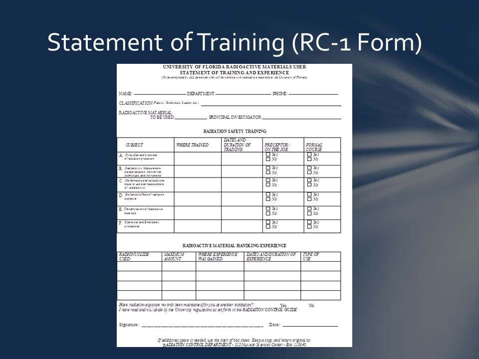 Statement of Training (RC-1 Form)