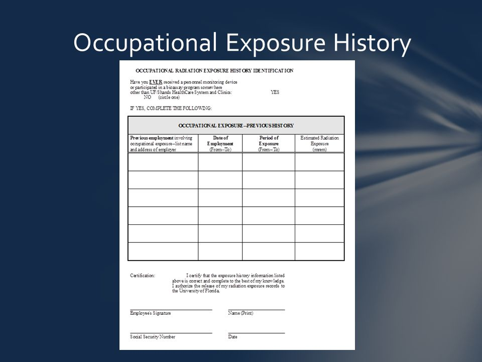 Occupational Exposure History