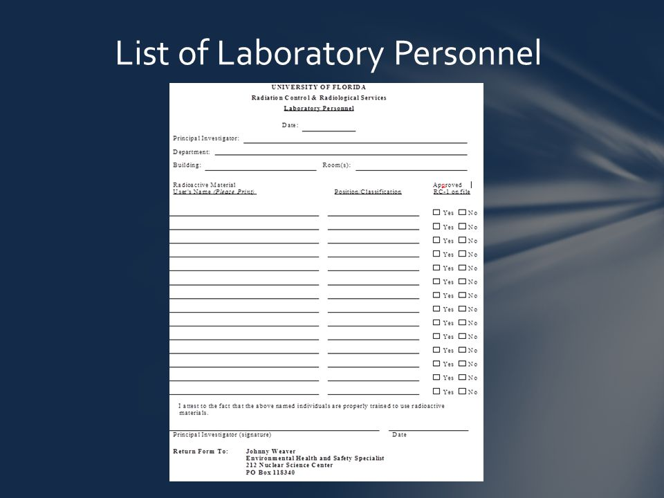List of Laboratory Personnel