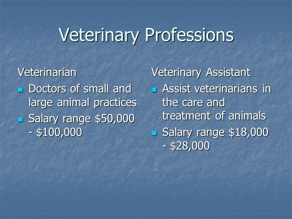 Veterinary Professions Veterinarian Doctors of small and large animal practices Doctors of small and large animal practices Salary range $50,000 - $100,000 Salary range $50,000 - $100,000 Veterinary Assistant Assist veterinarians in the care and treatment of animals Assist veterinarians in the care and treatment of animals Salary range $18,000 - $28,000 Salary range $18,000 - $28,000