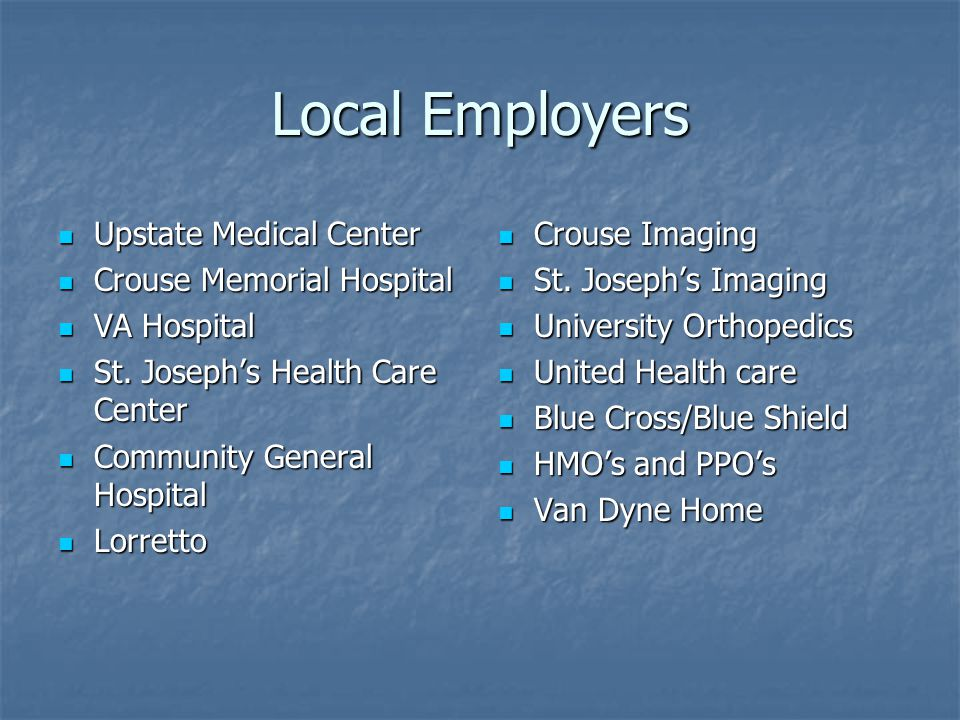Local Employers Upstate Medical Center Upstate Medical Center Crouse Memorial Hospital Crouse Memorial Hospital VA Hospital VA Hospital St.