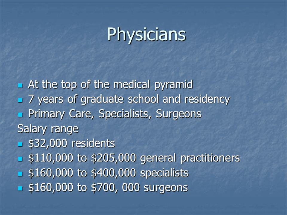 Physicians Physicians At the top of the medical pyramid At the top of the medical pyramid 7 years of graduate school and residency 7 years of graduate school and residency Primary Care, Specialists, Surgeons Primary Care, Specialists, Surgeons Salary range $32,000 residents $32,000 residents $110,000 to $205,000 general practitioners $110,000 to $205,000 general practitioners $160,000 to $400,000 specialists $160,000 to $400,000 specialists $160,000 to $700, 000 surgeons $160,000 to $700, 000 surgeons