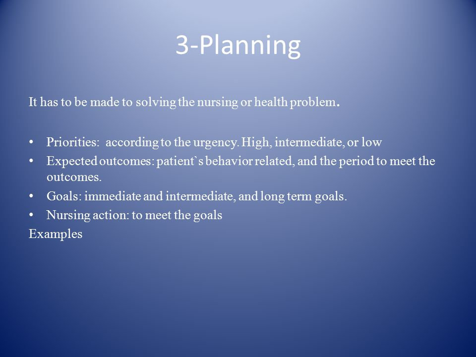 3-Planning It has to be made to solving the nursing or health problem.
