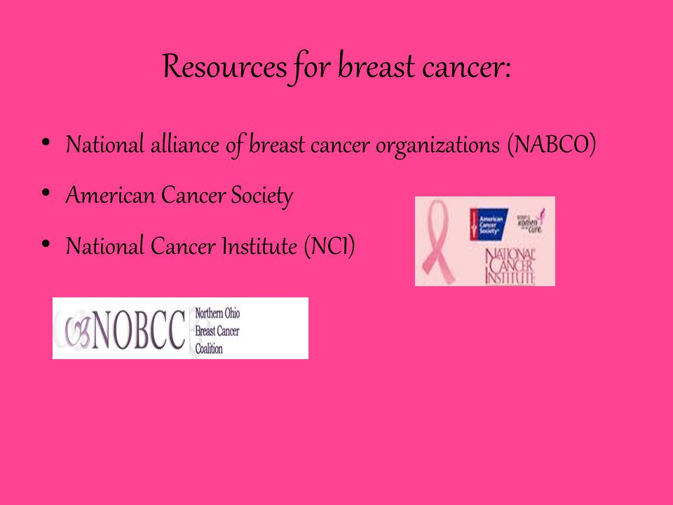 Resources for breast cancer: National alliance of breast cancer organizations (NABCO) American Cancer Society National Cancer Institute (NCI)