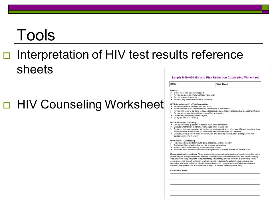 Tools  Interpretation of HIV test results reference sheets  HIV Counseling Worksheet