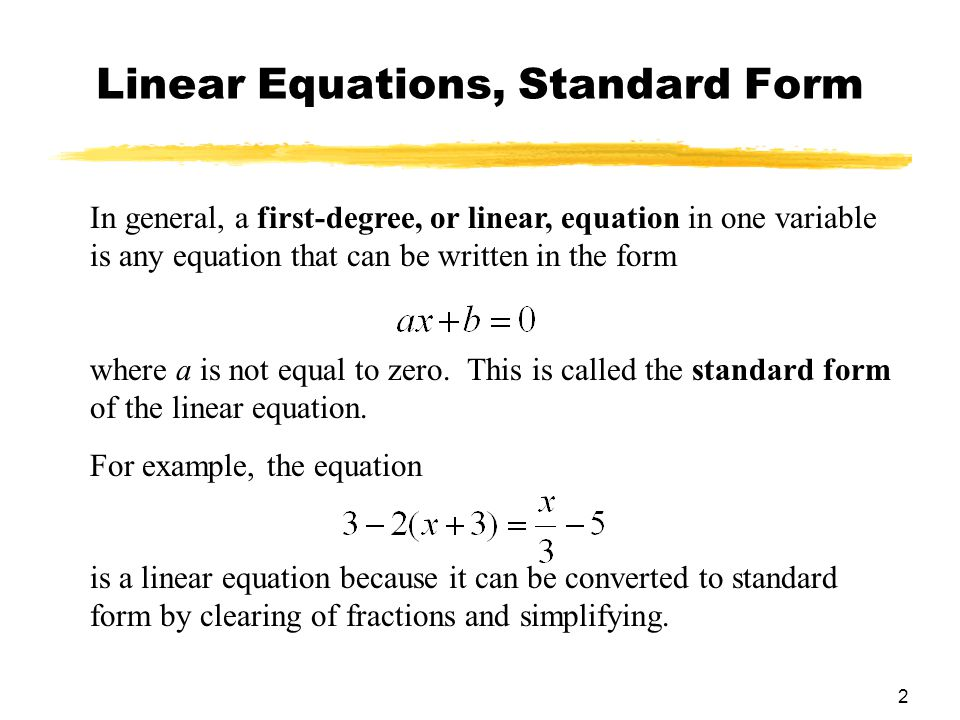 Chapter 1 Linear Equations And Graphs Section 1 Linear Equations And