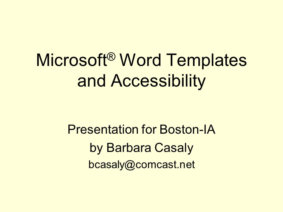 Microsoft Word Templates And Accessibility Presentation For Boston