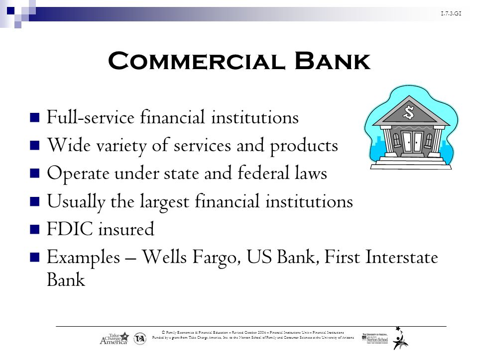 1.7.3.G1 © Family Economics & Financial Education – Revised October 2004 – Financial Institutions Unit – Financial Institutions Funded by a grant from Take Charge America, Inc.