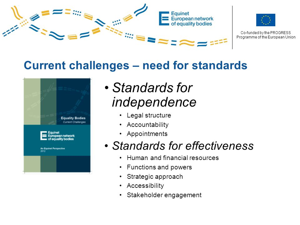 Co-funded by the PROGRESS Programme of the European Union Current challenges – need for standards Standards for independence Legal structure Accountability Appointments Standards for effectiveness Human and financial resources Functions and powers Strategic approach Accessibility Stakeholder engagement