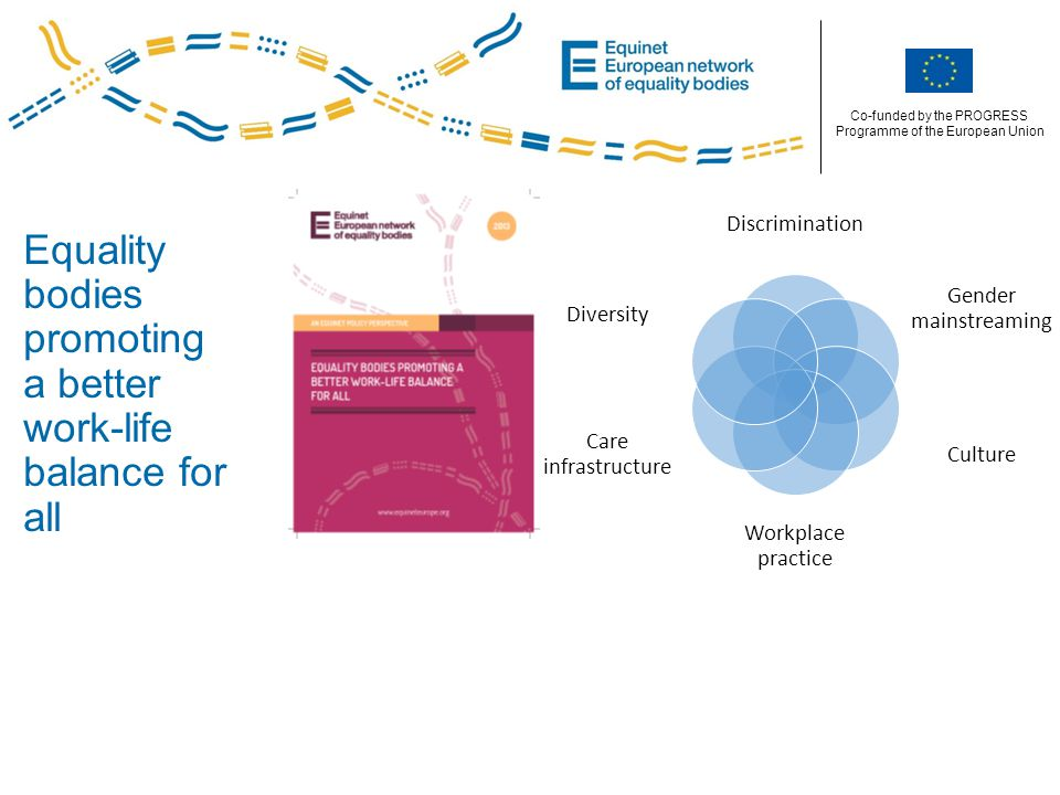 Co-funded by the PROGRESS Programme of the European Union Equality bodies promoting a better work-life balance for all Discrimination Gender mainstreaming Culture Workplace practice Care infrastructure Diversity