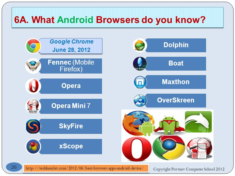Google Chrome June 28, 2012 Fennec (Mobile Firefox) Opera Opera Mini 7 SkyFire xScope Dolphin Boat Maxthon OverSkreen Copyright Portnov Computer School A.