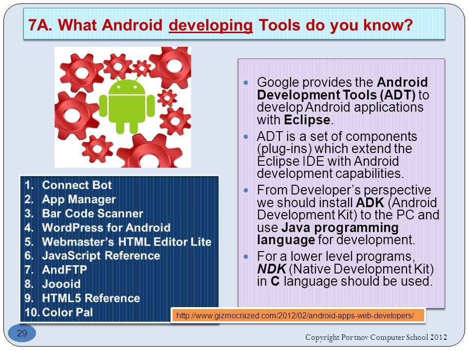 Google provides the Android Development Tools (ADT) to develop Android applications with Eclipse.