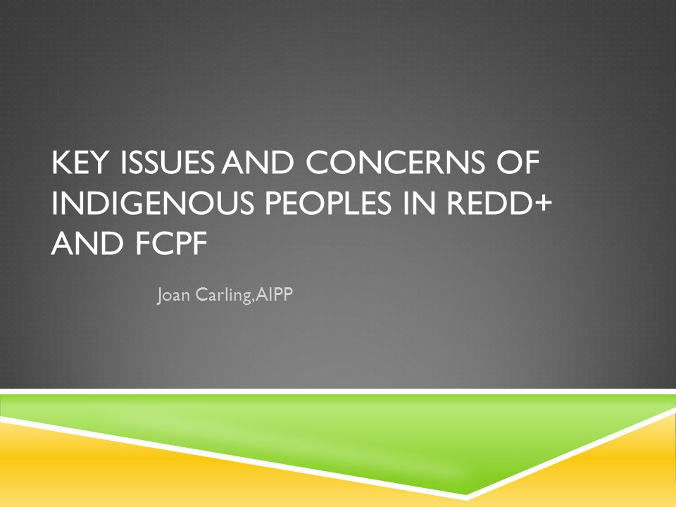 KEY ISSUES AND CONCERNS OF INDIGENOUS PEOPLES IN REDD+ AND FCPF Joan Carling, AIPP