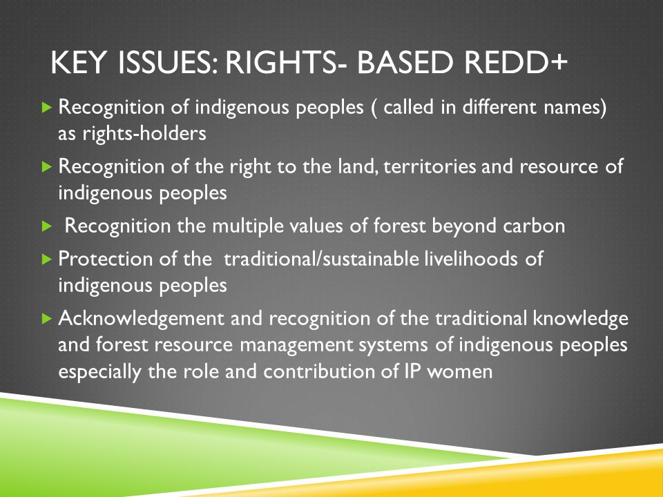 KEY ISSUES: RIGHTS- BASED REDD+  Recognition of indigenous peoples ( called in different names) as rights-holders  Recognition of the right to the land, territories and resource of indigenous peoples  Recognition the multiple values of forest beyond carbon  Protection of the traditional/sustainable livelihoods of indigenous peoples  Acknowledgement and recognition of the traditional knowledge and forest resource management systems of indigenous peoples especially the role and contribution of IP women