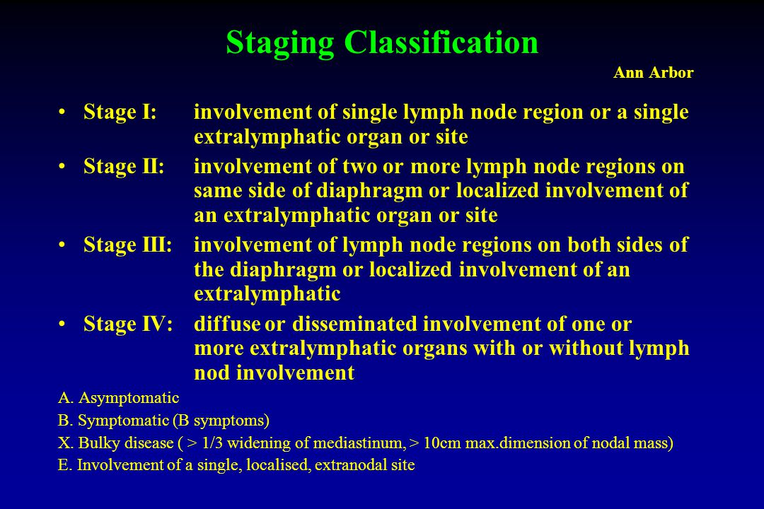 Staging Classification Ann Arbor Stage I: involvement of single lymph node region or a single extralymphatic organ or site Stage II:involvement of two or more lymph node regions on same side of diaphragm or localized involvement of an extralymphatic organ or site Stage III:involvement of lymph node regions on both sides of the diaphragm or localized involvement of an extralymphatic Stage IV:diffuse or disseminated involvement of one or more extralymphatic organs with or without lymph nod involvement A.