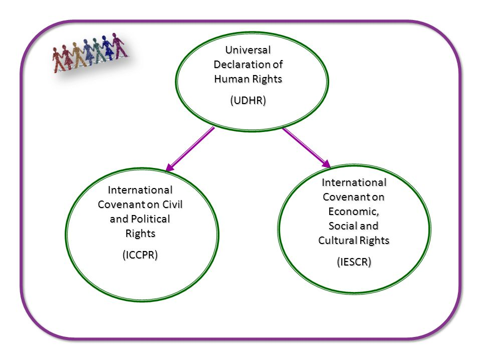 Universal Declaration of Human Rights (UDHR) International Covenant on Civil and Political Rights (ICCPR) International Covenant on Economic, Social and Cultural Rights (IESCR)