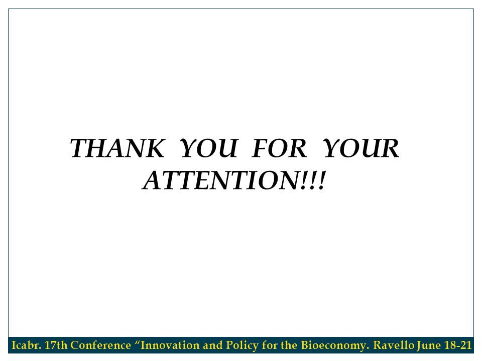 THANK YOU FOR YOUR ATTENTION!!. Icabr. 17th Conference Innovation and Policy for the Bioeconomy.